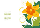 Greeting card with leaves and flowers on white background.