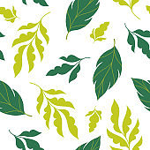 Beautiful seamless floral pattern, white background and green leaves , leaves tree