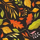 Autumn leaves, seamless illustration on black background. Oak leaves, maple leaf  falling.