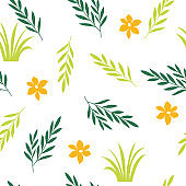 Beautiful seamless floral pattern, white background and green and yellow leaves