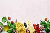 Culinary background with traditional ingredients of italian cuisine