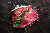 Fresh raw marbled beefsteak with spices