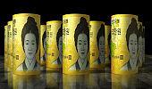 South Korea Won money banknotes pack illustration