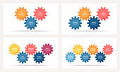 Business infographics. Process with 3, 4, 5, 6 steps, options, gears. Vector template.
