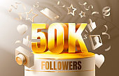 Thank you followers peoples, 50k online social group, happy banner celebrate, Vector
