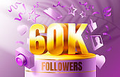 Thank you followers peoples, 60k online social group, happy banner celebrate, Vector