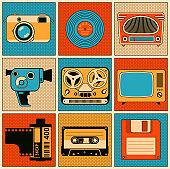 Retro media objects. Vector design elements set.