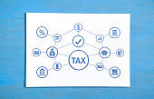 Tax on paper. Business. Finance. Network. Technology