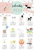 Cute animal calendar 2021 with rabbit, fox, bear for children, kid, baby.Can be used for printable graphic.Editable element