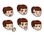 Anime girl face expression set