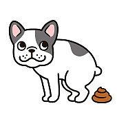 Cartoon French Bulldog pooping
