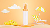3d render of cosmetics bottle with summer sand beach concept for your mockup