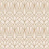 Art Deco Seamless Pattern in a Trendy Minimal Linear Style. Vector Abstract Geometric background with Golden triangles