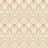 Art Deco Seamless Pattern in a Trendy Minimalist Linear Style. Vector Abstract Geometric background with Golden Shapes.