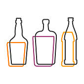 Simple line shape of whiskey liquor and beer bottle. One contour figure of flask, the second drink. Outline symbol beverage black color. Sign liquid colored. Isolated flat illustration