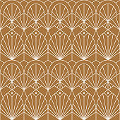 Art Deco Seamless Pattern in a Trendy minimal Linear Style. Vector Abstract Retro background with Geometric Shapes.