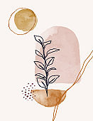 Watercolor Art Background In A Trendy Minimalist Style. Vector Hand Drawn Illustration from Abstract Shapes and Leaves