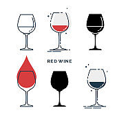 Set of glasses with red wine in different styles. Shot glass drinks. Template alcohol beverage for restaurant, bar, pub. Symbol party. Collection one drink. Isolated flat illustration on white background