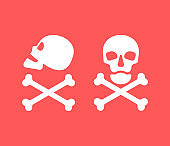 Human skull in side and full face view and crossbones on red background. Isolated illustration in flat style on a red warning square. Poison sign and symbol for design. An image of danger to humans. Icon of hazard to life