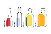Bottles red wine vodka tequila rum in row. Continuous line object on white background. Black thin outline and color fill. Modern flat style graphic design. Logo contour element illustration