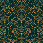 Art Deco Seamless Pattern in a Trending minimal Linear Style. Vector Abstract Geometric background
