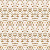 Art Deco Seamless Pattern in a Trendy minimal Linear Style. Vector Abstract Retro background with Golden triangles