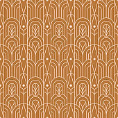 Art Deco Seamless Pattern in a Trendy Minimal Linear Style. Vector Abstract Geometric Background with Arches.