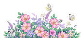 Hand drawn wildflowers, pink dog-rose and butterflies