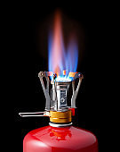 Flame of a camping stove