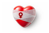 Gender-based violence. Heart with wound shaped of a female gender.