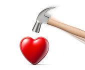 Hammer hitting a heart