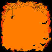 Half tone Halloween frame with spider and bats.