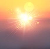 Beautiful orange sunset or sunrise abstract background.
