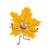 Maple leaf character with happy emotions