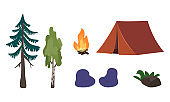 Set of forest recreation or picnic icons with tent, fire and trees
