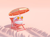 Beach ball wearing sunglasses on Luxury chairs and umbrella on pastel pink background. Summer with love. Minimal abstract wallpaper concept. Velvet season. Flat lay. 3d render