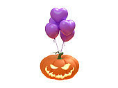 Orange Pumpkin Jack and purple ribbon and Hart balloon on white background. minimal Holiday Halloween concept. Flat lay. 3d render