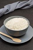 White round rice in gray bowl.