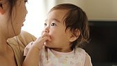 japanese baby and young mother relaxing