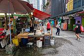 Street vendors in Pau Chung Street, Kowloon, Hong Kong
