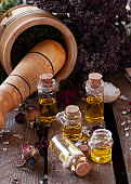 Essential oil bottles with dry ingredients