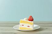 strawberry sponge cake on the table.