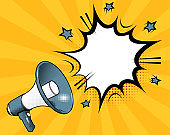 Megaphone icon with blank speech bubble and empty copy space for text. Template for ad and business. Vector illustration on orange background with sun rays