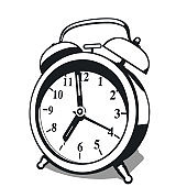 Classic alarm clock. High contrast black and white vector illustration with shadow isolated on white background