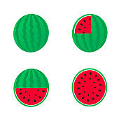 Watermelon vector. red fruit cut into pieces with seeds inside Refreshing food in the summer