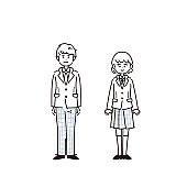 It is an illustration of male and female students lined up. In the line drawing, there is no fill part. Vector.