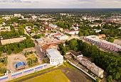 Panoramic aerial view of  city of Gus-Khrustalny, Vladimir region