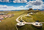 View of famous Route of Don Quixote in Consuegra with windmills