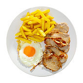 close up of grilled pork with fried potato and egg served