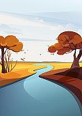 Autumn river landscape.